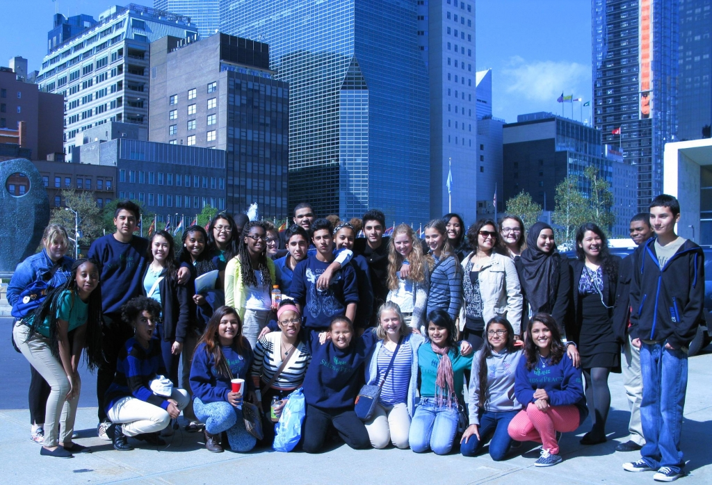 The Syracuse Seeds of Peace gather at the United Nations plaza in New York City in September, 2014.