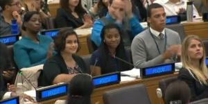 Ranya Shannon (center row left) and Cimone Jordan (center row right) speak at the United Nations International Day of Peace in September, 2014